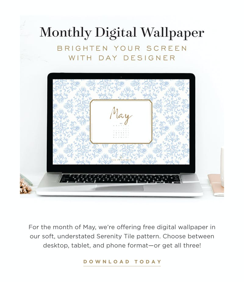 Download our free digital wallpaper in Serenity Tile!
