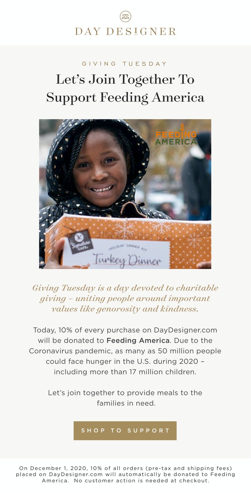 Let''s join together to support Feeding America.