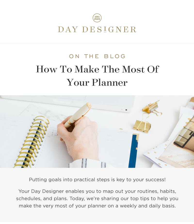 Plan the week ahead and design each day for success!