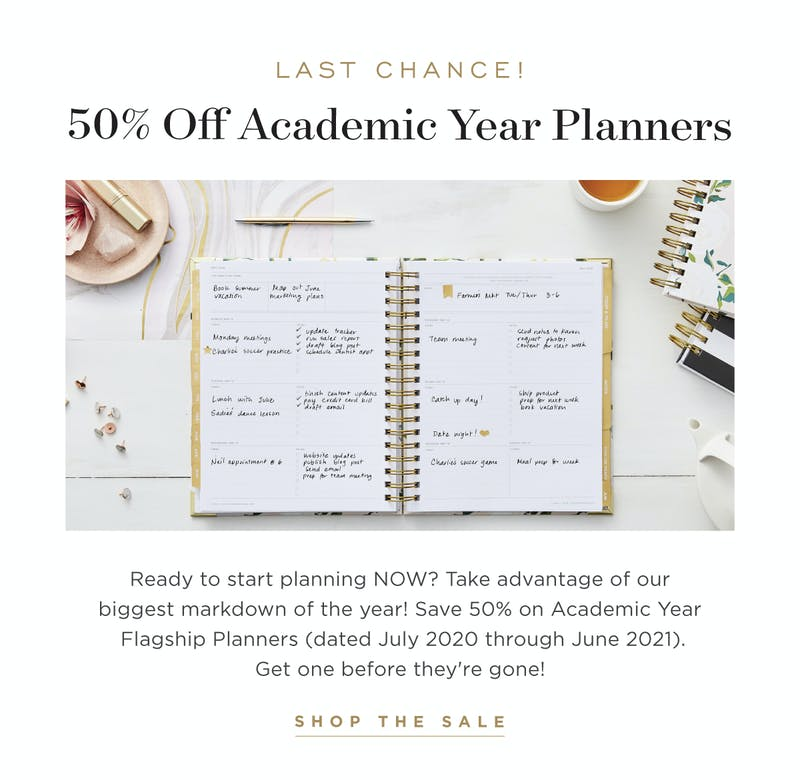 50% OFF academic year planners!