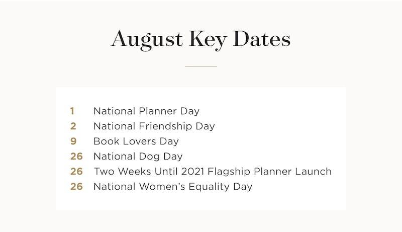 August Key Dates.