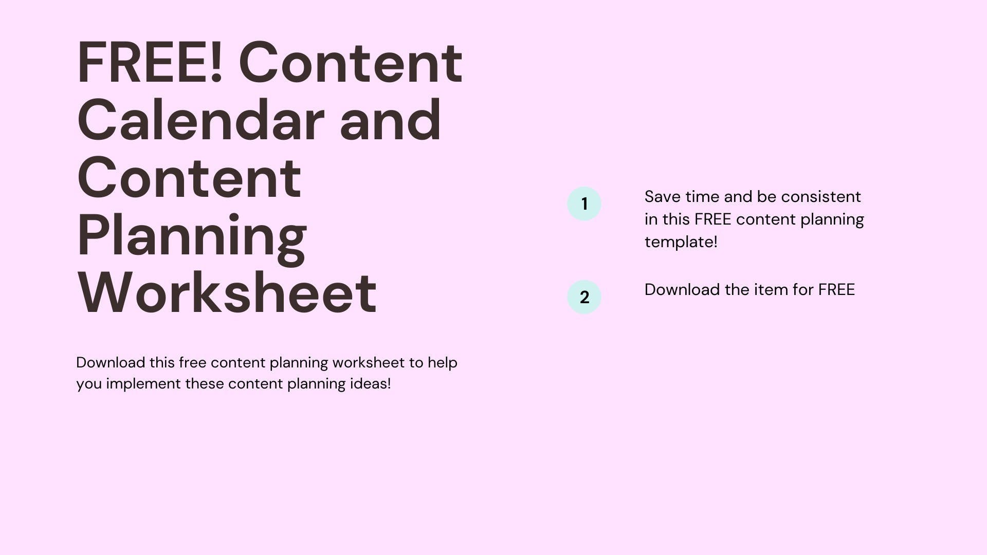 Content calendar ideas free