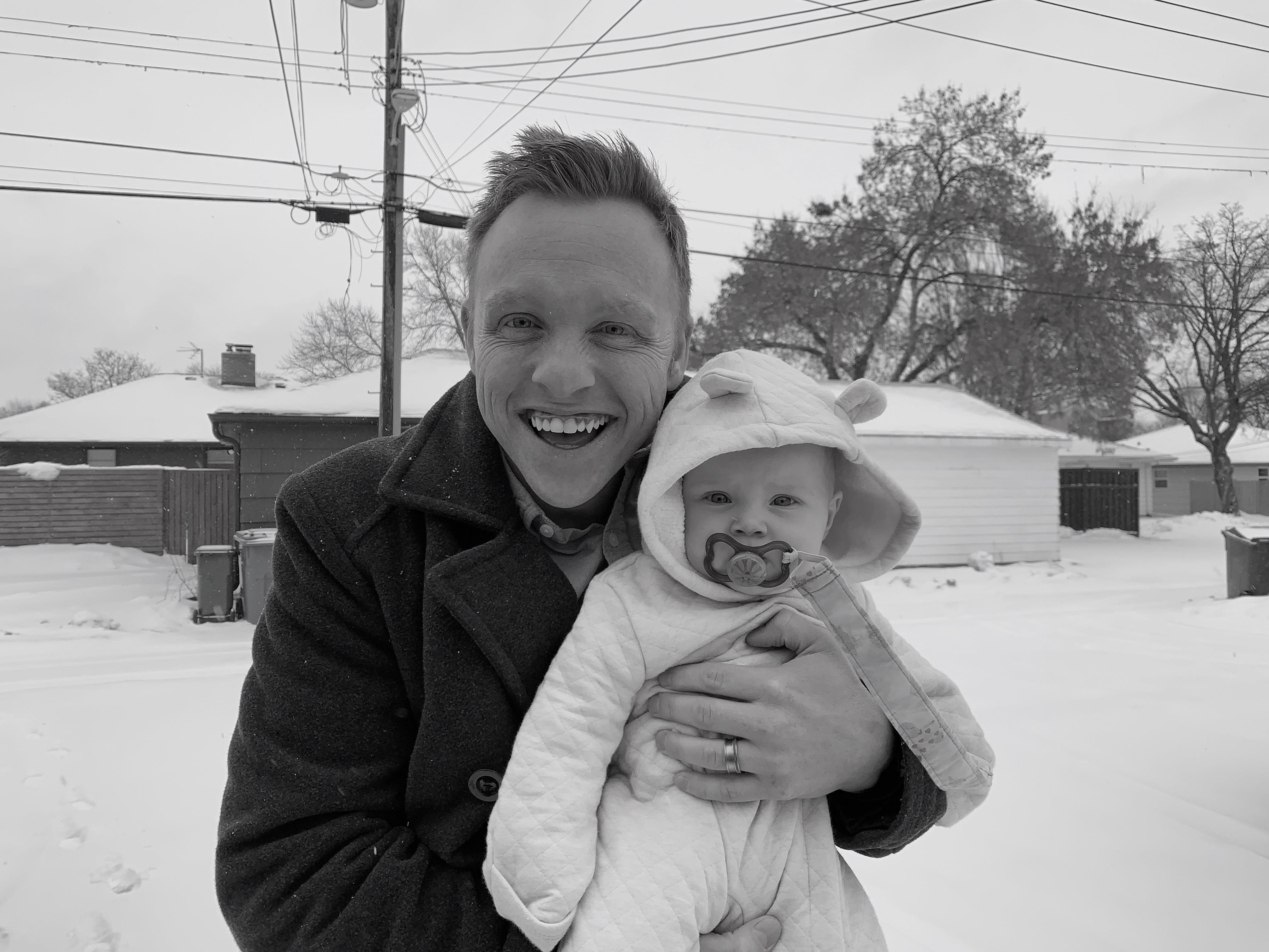 Ellie and I in the snow this week.