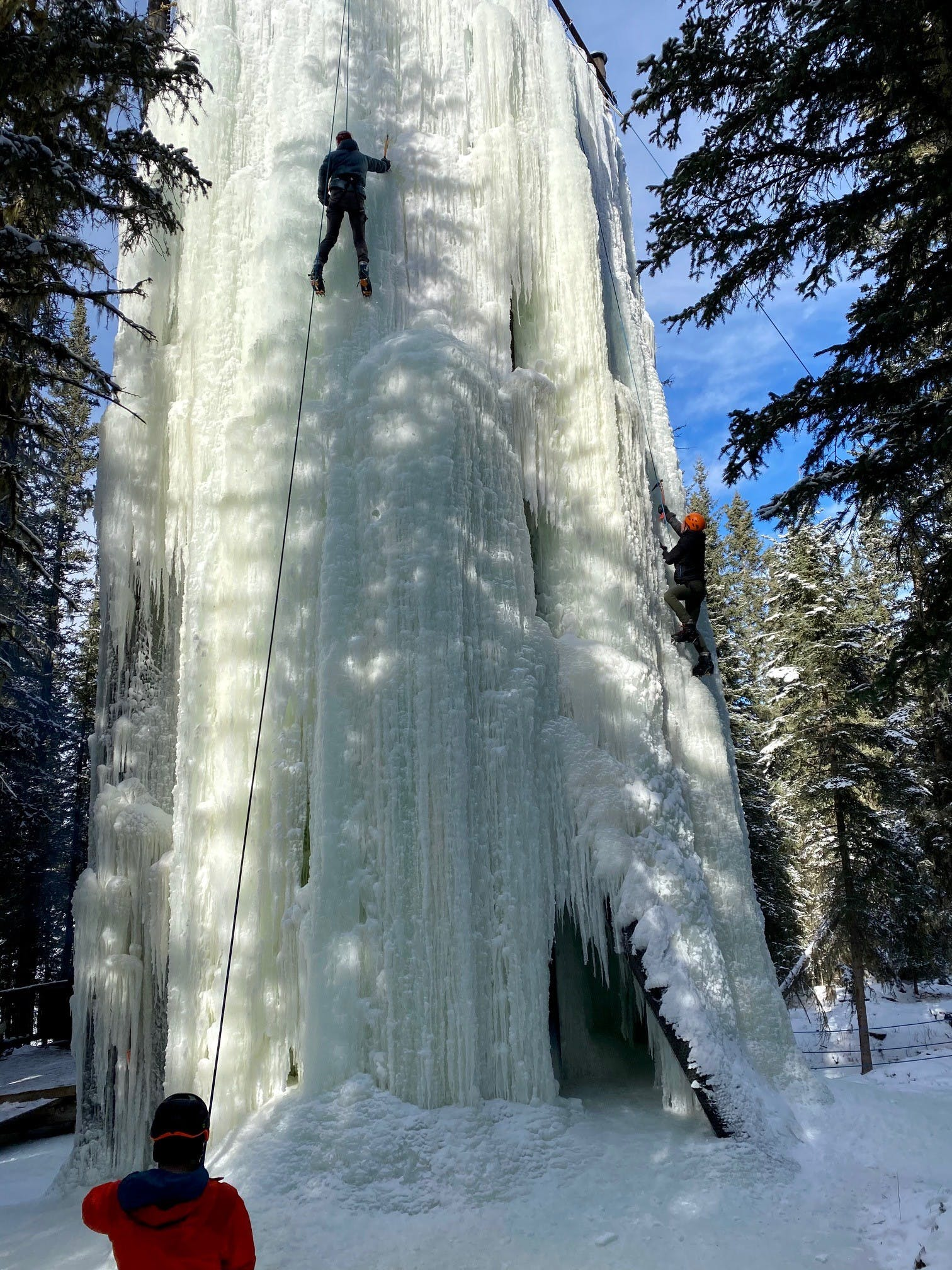 Ice climbing at Frontier Lodge, Nordegg, AB