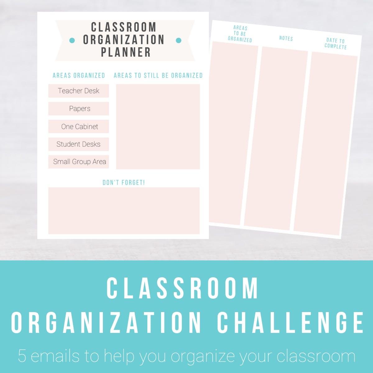 "Screenshot of resource. Text overlay: \""Classroom Organization Challenge.\"""