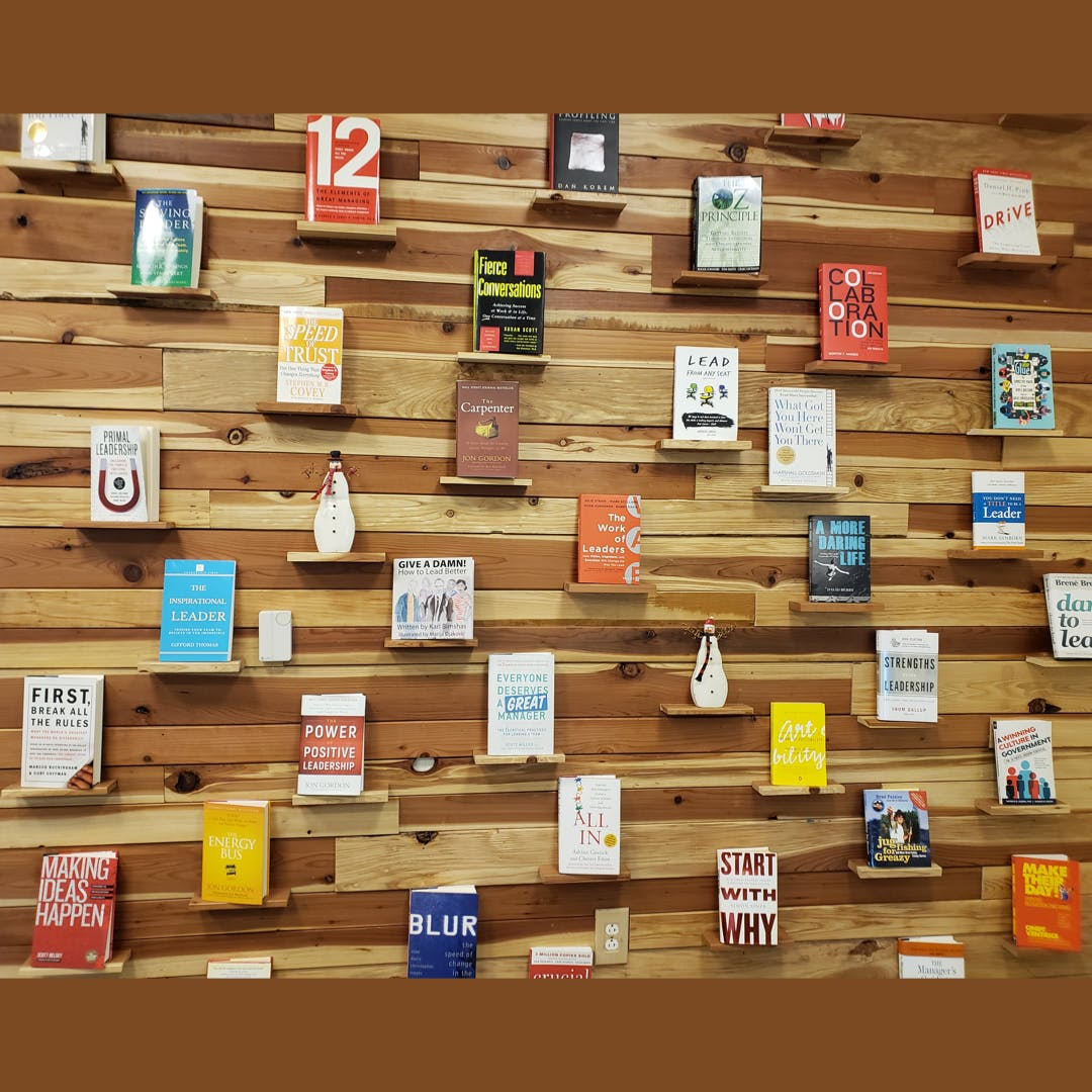 Leadership Book Wall created by Padre Dam HR Team