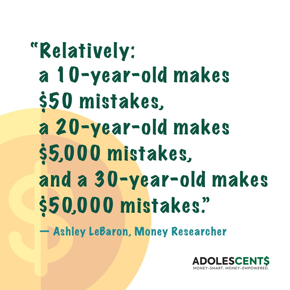 ADOLESCENT$ card about money mistakes