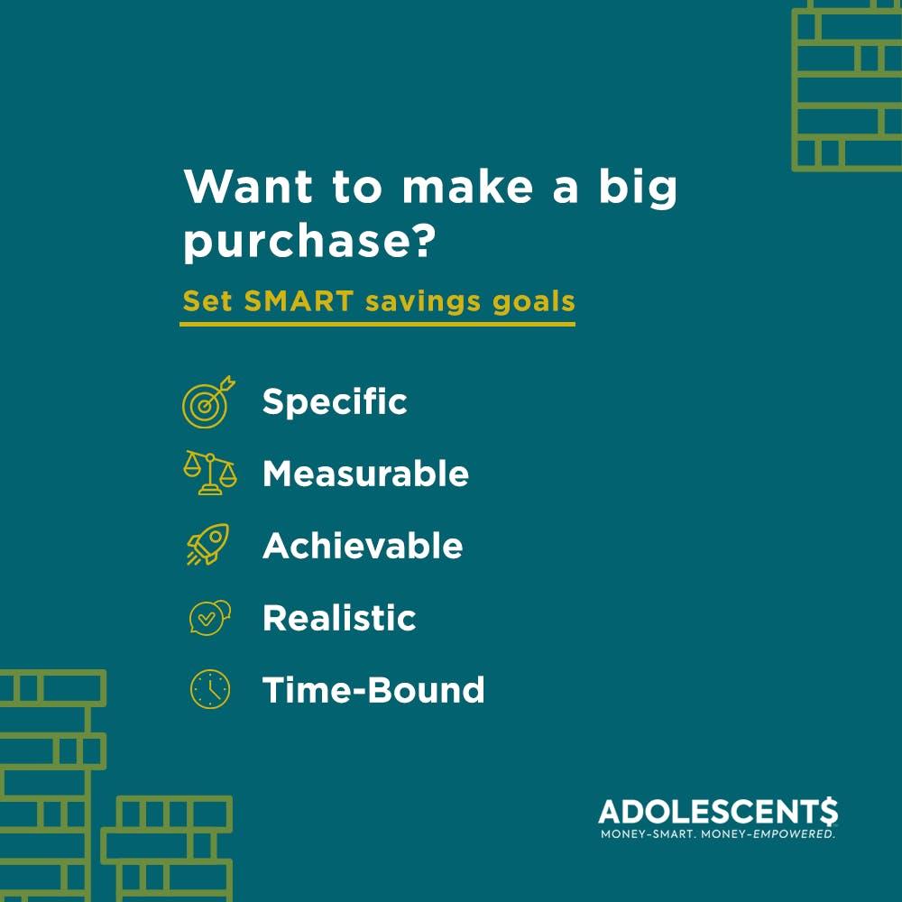 ADOLESCENT$ card about SMART goals