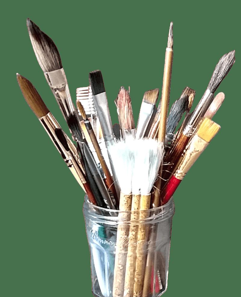 jar of watercolor brushes
