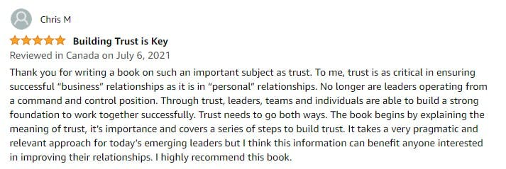 Chris M review of The Future Is Trust on Amazon