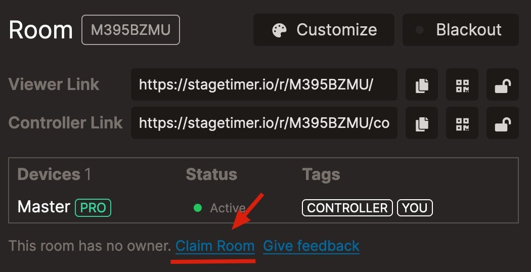 Claim a room, make it part of your account