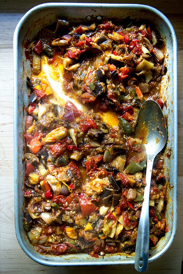 A pan of roasted ratatouille.