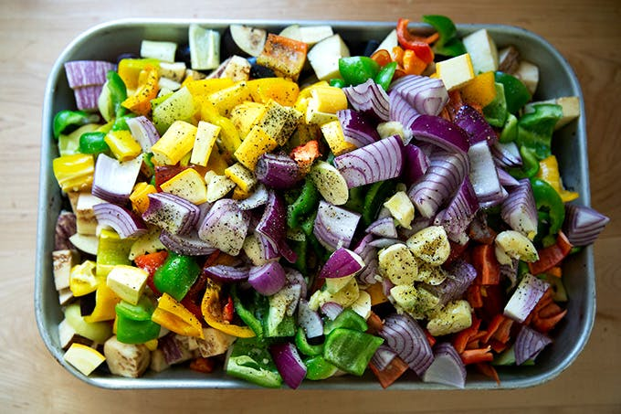 A pan of vegetables on a kitchen counter.