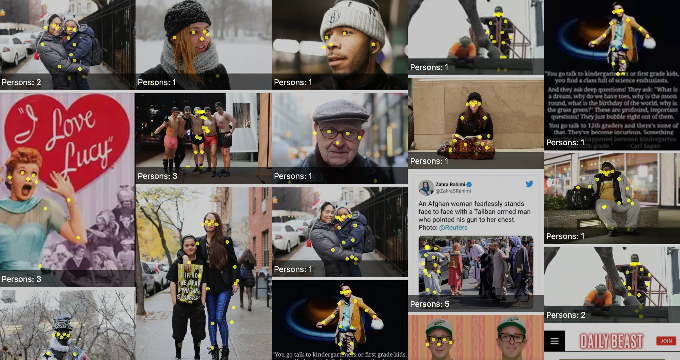 Pose estimation over images from Humans of New York