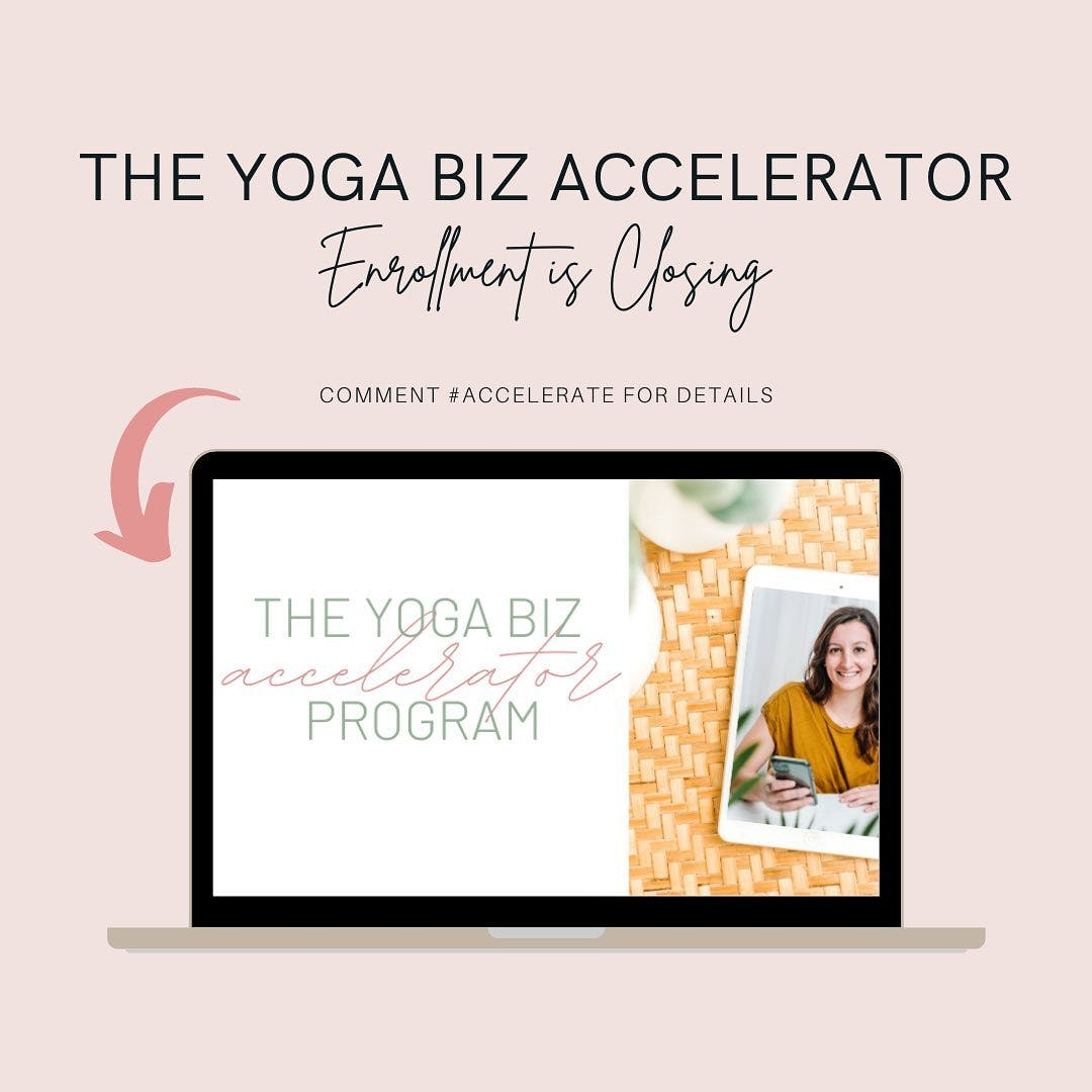 "Enrollment is closing for The Yoga Biz Accelerator and we are calling you in 💙  {Swipe through for words from clients}  After this week, enrollment will not open again until June.  Most likely, if you're reading this, you're not sure if coaching is for you (understandably!)  Maybe it feels scary to take the leap of faith into turning your passion for teaching yoga into a business.  Maybe you don't feel ready to invest because you don't know how or if you'll make back that investment  Maybe you've been in programs that simply didn't deliver  I hear you and I'd like to say, those are all valid.  Coaching may not be your next step.  What I want for you is to find a community that's going to help you take your passion and grow it into something that nourishes your life in a whole new way.  So if you're cool with it, I'd like to tell you a few reasons why the Accelerator is different & special (in my extremely biased opinion!)  We keep this container extremely intimate so that you don't feel like ""one of the many."" We cap this program at 10 yoga teachers so we can give you personalized support.  ⭐Our team focuses on more than just throwing information & strategy at you. We put a huge emphasis on mindset, learning about your superpowers, and building a sustainable business (not just a ""get rich quick"" business model)  ⭐ We help you build systems into your yoga business that allow you to spend LESS time online (because social media fatigue and burnout is hella real)  ⭐ Our past clients have seen INCREDIBLE results and are building the most incredible businesses (seriously, our clients rock). Swipe through for testimonials.  This space is for teachers who are done spinning their wheels, done with trial-and-error, and know deep down in their gut that they're ready to build something for themselves (even if they don't know WHAT just yet).  With the help of 3 experienced coaches, you will be learning real business strategies, actively implementing those strategies with guidance and support, and setting up your business for long-term success.  Comment #accelerate or send me a private message to talk through the details. Let's see if this space is for you!"