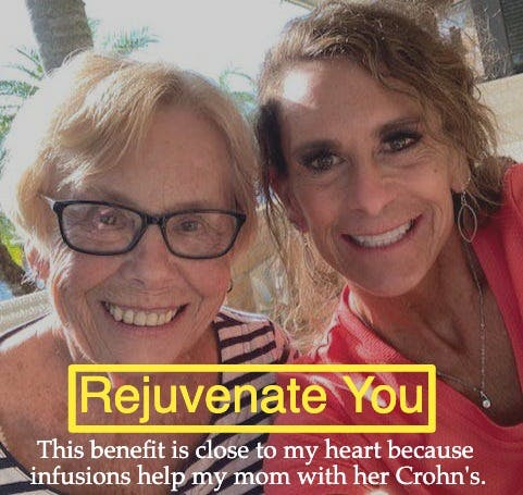 Dr. Paula Jones of Rejuvenate You smiling beside her smiling mother and promoting a Crohn's Benefit event.