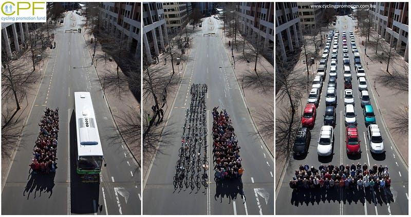 69 people by bus bicycle or car