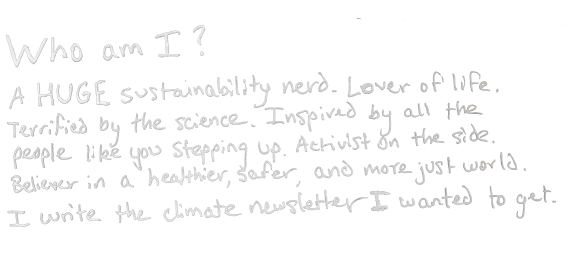 Who am I? A huge sustainability nerd. Lover of life. Terrified by the science. Inspired by all the people like you stepping up. Activist on the side. Believer in a healthier, safer, and more just world. I write the climate newsletter I wanted to get.