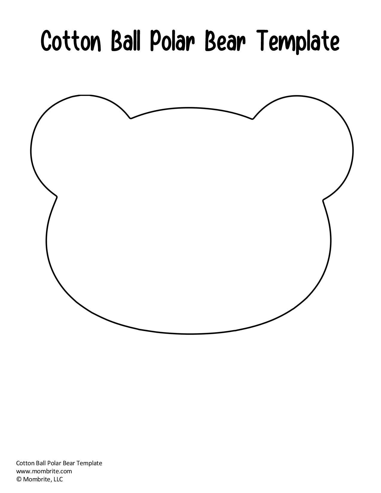 Free Cotton Ball Polar Bear Template