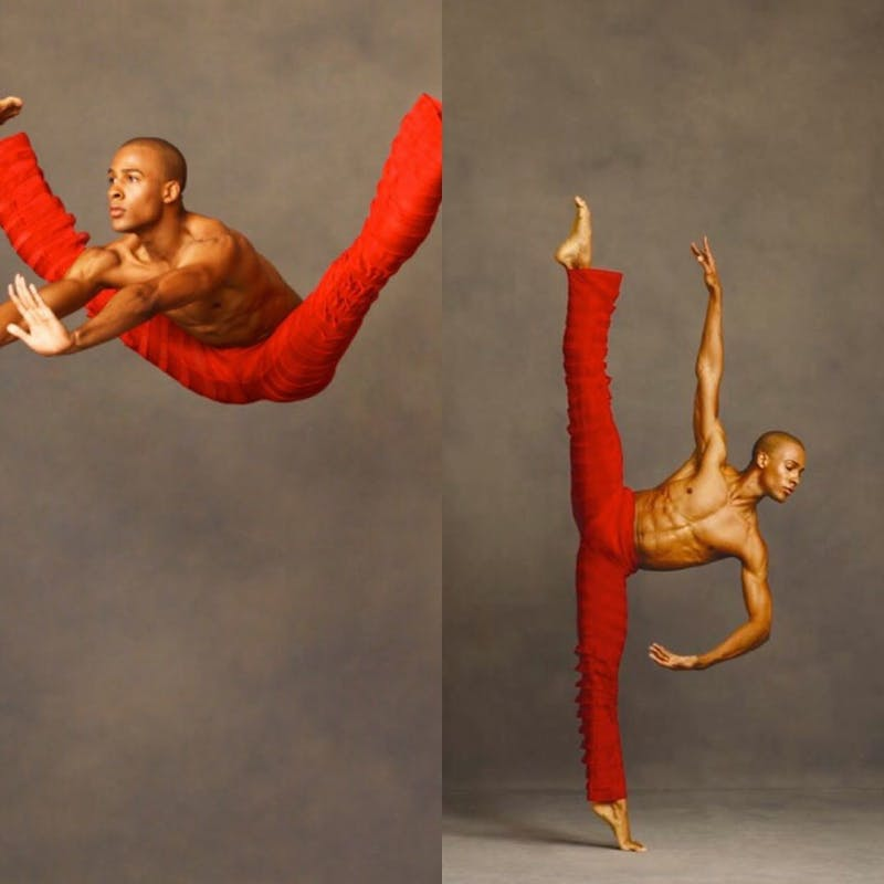 This image is of an Alvin Ailey dancer who is wearing red pants and is not wearing a shirt and has a 6 pack and very muscular arms. One one side he's jumping in the air with his legs completely spread, and the other side of the picture he's balancing on his toes on one foot while the other leg is directly in line and in the air showing extreme flexibility.
