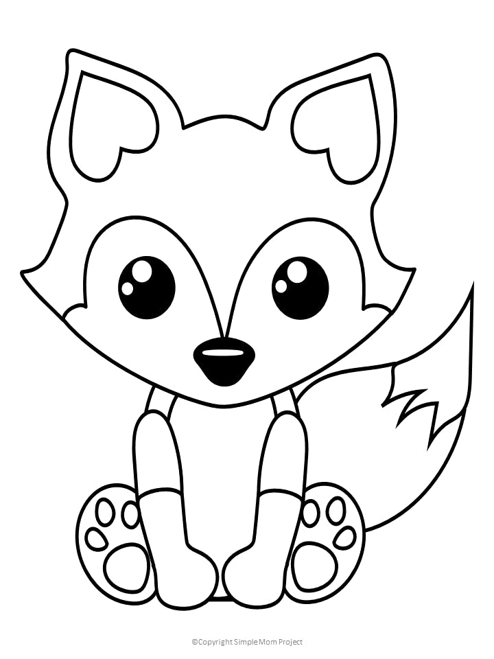 Free Printable Baby Fox Coloring Page Simple Mom Project