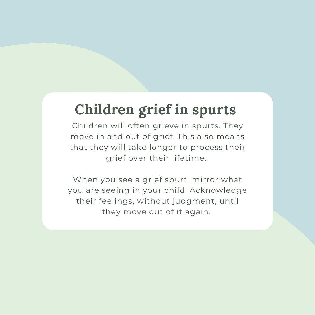 Children grieve differently. They have one foot in grief, and one out. Join my Facebook group to learn more. #lifeafterloss #widowshelpingwidows #griefcoach #griefcoaching #widowcoach #childrensgrief #childrengrievedifferently #childrengrievetoo #kidsgrieve #kidsgrievetoo #kidsgrievedifferently #griefgal #thegirlwhogetsit