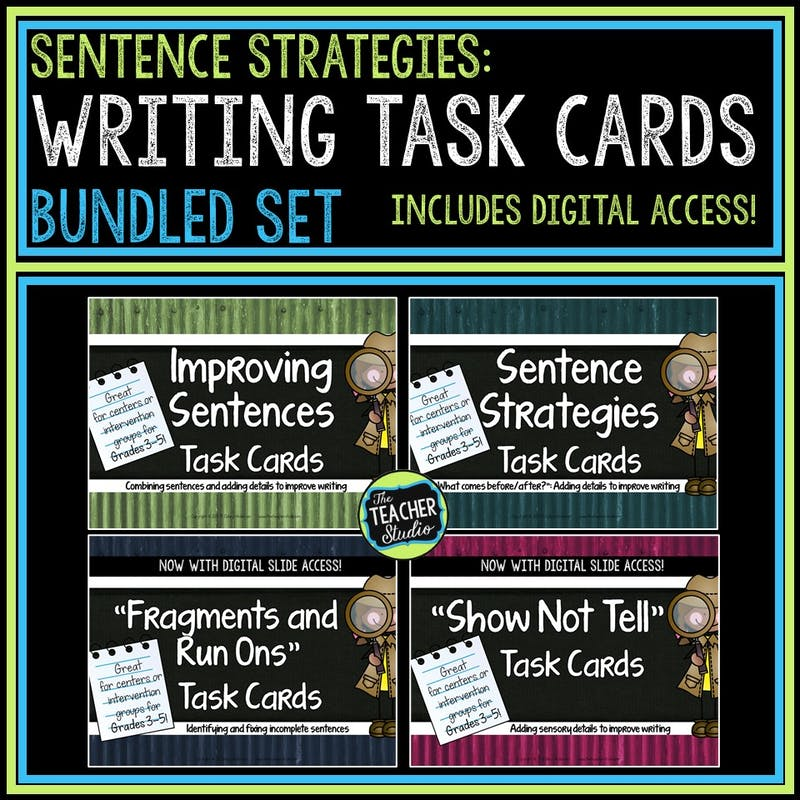 Writing minilessons and writing task cards can help teach key writing skills and strategies.