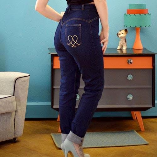 Hug Me Baby super curvy high waist retro denim jeans by Lady K Loves - indigo