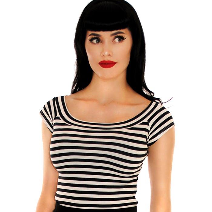 Retrolicious striped boat neck stretch top