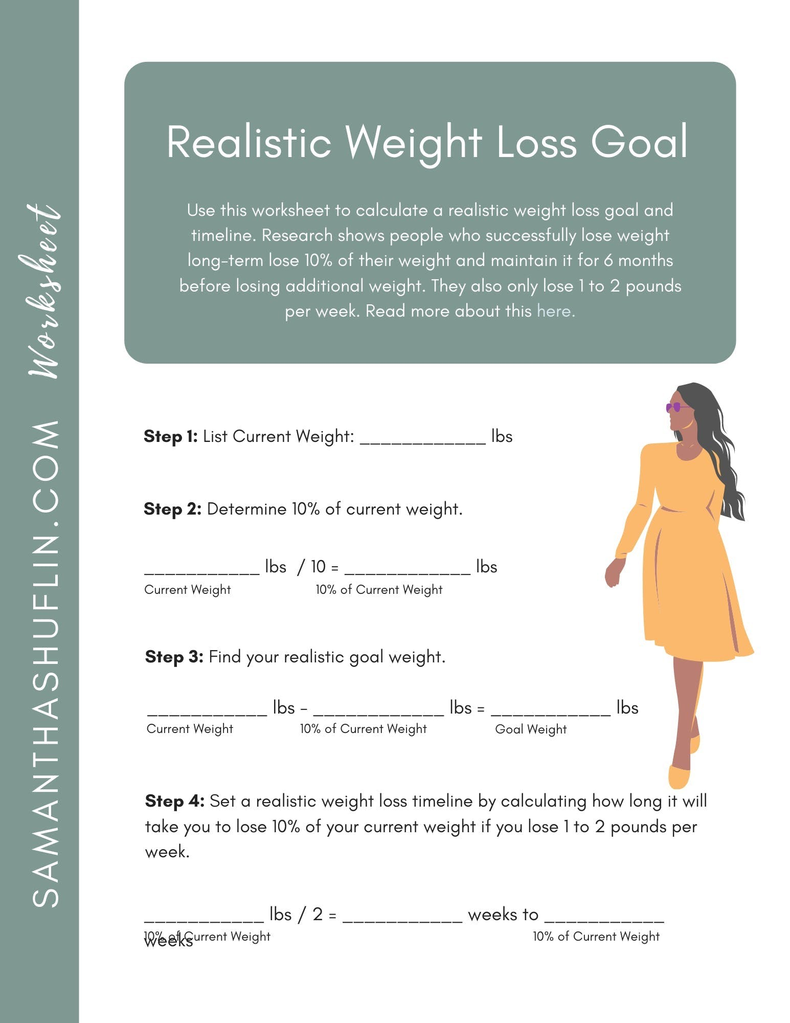 Setting Realistic Weight Loss Goals: Set Realistic Weight Loss Goals With This Free Worksheet