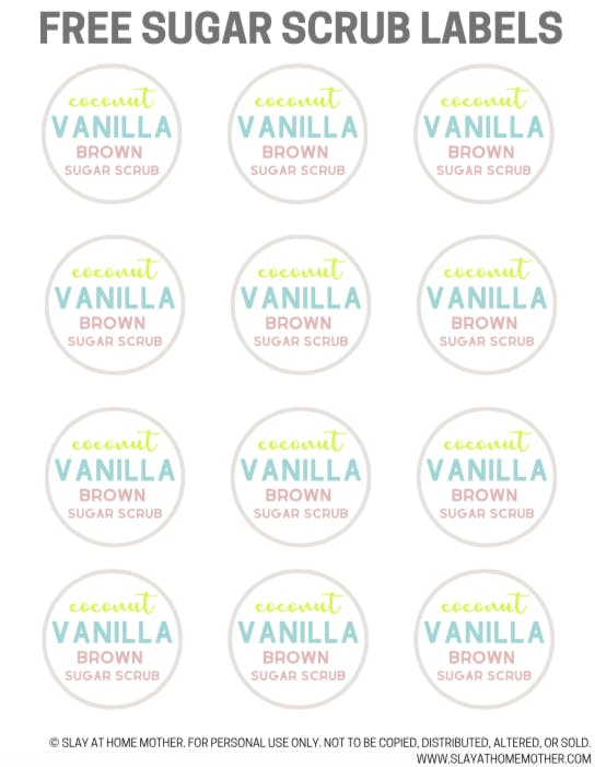 image about Printable Sugar Scrub Labels titled Do-it-yourself Coconut Vanilla Brown Sugar Scrub + Cost-free Printable